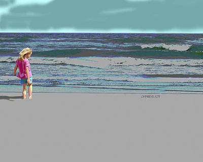 Print featuring the digital art Rosie On The Beach by Walter Chamberlain