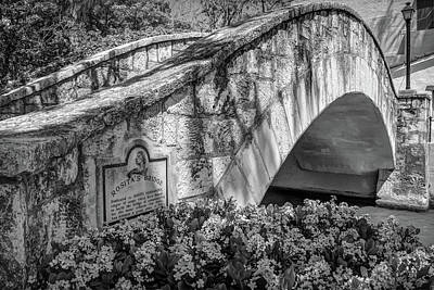 Photograph - Rosita's Bridge - San Antonio Texas Riverwalk - Black And White by Gregory Ballos