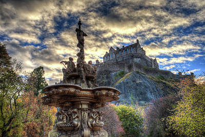 Photograph - Ross Fountain And Edinburgh Castle by David Pyatt