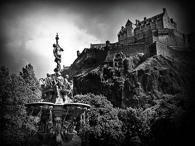 Royal Mile Photograph - Ross Fountain In Bw by Amanda Finan