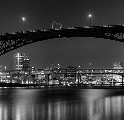 White River Photograph - Ross Island Bridge At Night by Zeb Andrews