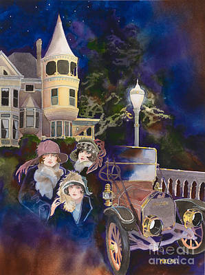 Night Lamp Painting - Ross Island Bridge House by Mike Hill