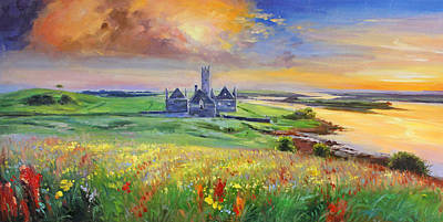 Ballina Painting - Rosserk Abbey On The River Moy, County Mayo by Conor McGuire