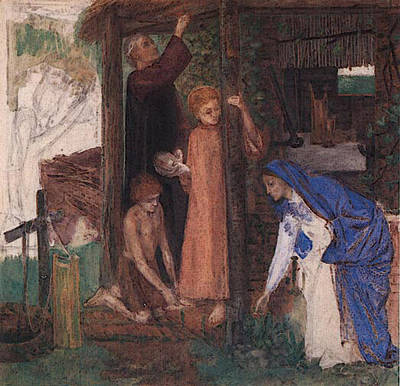 Passover Digital Art - Rossetti Dante Gabriel The Passover In The Holy Family Gathering Bitter Herbs by Dante Gabriel Rossetti