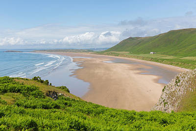 The Gower Photograph - Rossili Beach The Gower Peninsula South Wales Uk Overlooking The Bay At This Popular Welsh Place by Michael Charles