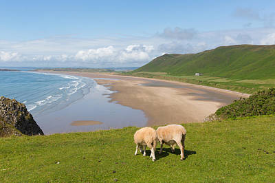 The Gower Photograph - Rossili Beach The Gower Peninsula South Wales Uk Overlooking The Bay by Michael Charles