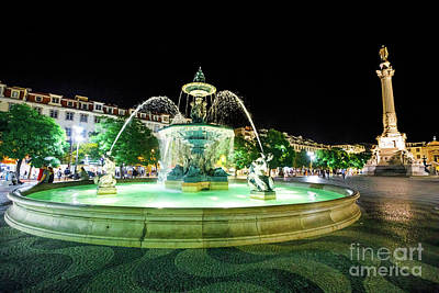 Photograph - Rossio Square By Night by Benny Marty