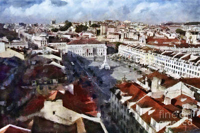 Rooftops Mixed Media - Rossio Square by Dariusz Gudowicz
