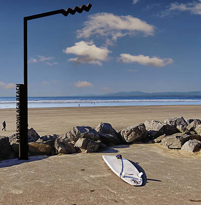 Digital Art - Rossnowlagh Beach On The Wild Atlantic Way With A Surfboard And Rocks by John Carver