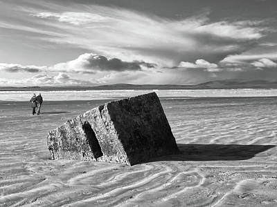 Digital Art - Rossnowlagh Beach - The Old Wartime Fortifications Sinking In The Sand With A Dramatic Sky by John Carver