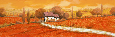 Summer Landscape Painting - Rosso Papavero by Guido Borelli
