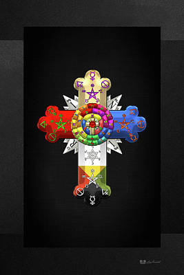 Digital Art - Rosy Cross - Rose Croix On Black Canvas by Serge Averbukh