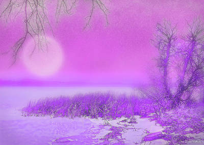 Digital Art - Rosy Hued Moonlit Lake - Boulder County Colorado by Joel Bruce Wallach
