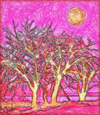 Art Print featuring the digital art Rosy Hued Trees - Boulder County Colorado by Joel Bruce Wallach