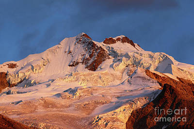 Rosy Pink Dawn Over Mt Huayna Potosi Art Print