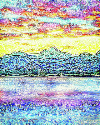 Digital Art - Rosy Sunset Lake - Boulder County Colorado by Joel Bruce Wallach