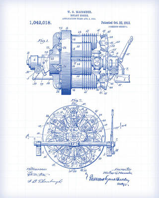 Painting - Rotary Engine Patent Drawing by Gary Grayson
