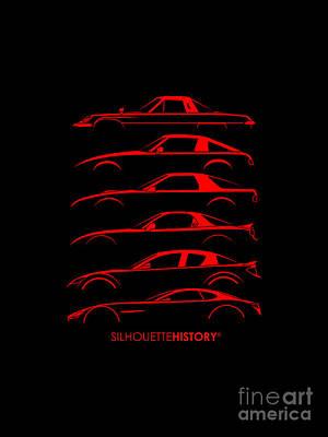 Cosmos Digital Art - Rotary Sports Car Silhouettehistory by Gabor Vida