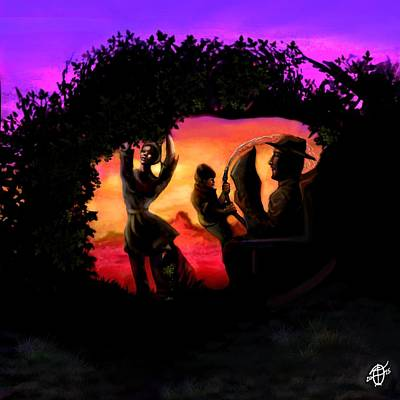 Purple Haze Painting - Rotatable Artwork Picking Grapes In The Purple Haze by Frank Franklin