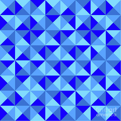 Algorithmic Digital Art - Rotated Blue Triangles by Ron Brown
