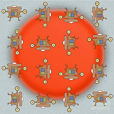Rotating Robots Pattern - Jet-paq Art Print by Uncle J's Monsters