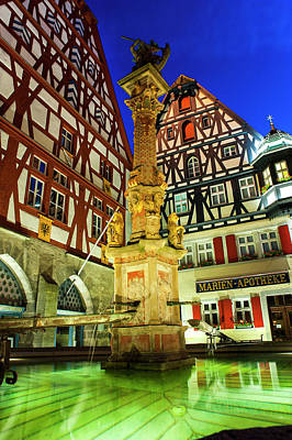 Photograph - Rothenburg Fountain At Blue Hour by Dennis Ludlow