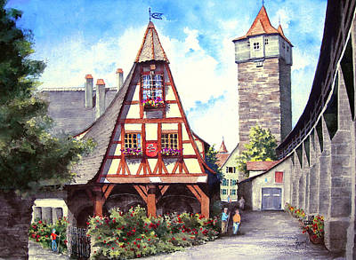 Tower Painting - Rothenburg Memories by Sam Sidders