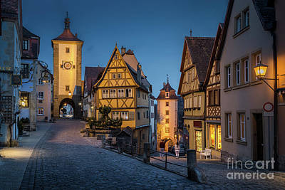 Photograph - Rothenburg Ob Der Tauber Twilight View by JR Photography