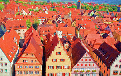 Digital Art - Rothenburg Roof Tops by Dennis Cox