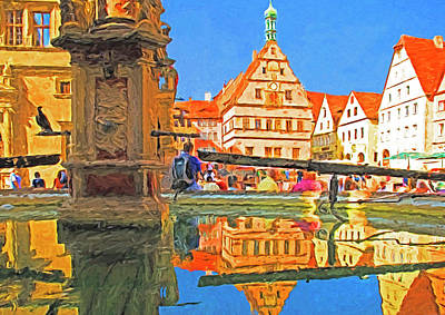 Digital Art - Rothenburg Square Fountain by Dennis Cox