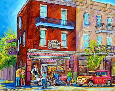 Painting - Rotisserie Serrano Bbq Colorful Canadian Streetscene Painting Montreal 375 Original Art  by Carole Spandau