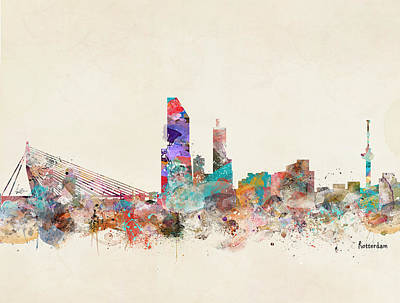 Painting - Rotterdam City Skyline by Bleu Bri