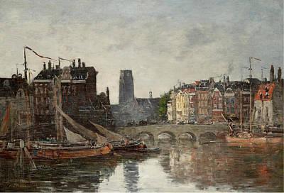 Painting - Rotterdam, Le Pont De La Bourse by Eugene Boudin