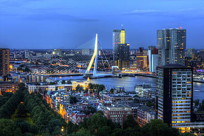 Photograph - Rotterdam Skyline With Erasmus Bridge by Shawn Everhart
