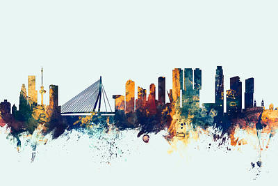 Netherlands Digital Art - Rotterdam The Netherlands Skyline by Michael Tompsett