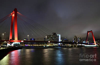 Maas Photograph - Rotterdam - Willemsbrug At Night by Carlos Alkmin