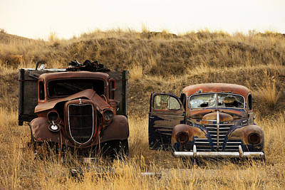 Rusted Cars Photograph - Rotting Jalopies by Todd Klassy