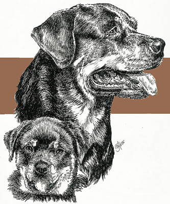 Mixed Media - Rottweiler And Pup by Barbara Keith