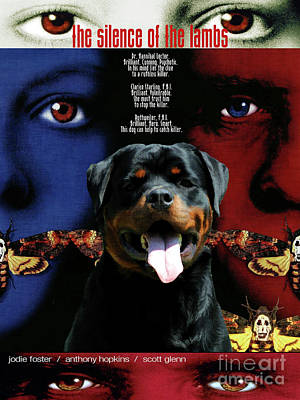 Painting - Rottweiler Art Canvas Print - The Silence Of The Lambs Movie Poster by Sandra Sij