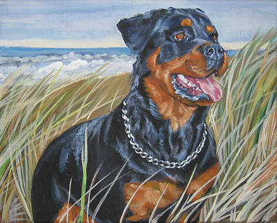 Rottweiler Wall Art - Painting - Rottweiler At The Beach by Lee Ann Shepard