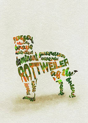 Rottweiler Wall Art - Painting - Rottweiler Dog Watercolor Painting / Typographic Art by Inspirowl Design