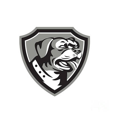 Guard Dogs Digital Art - Rottweiler Guard Dog Shield Black And White by Aloysius Patrimonio