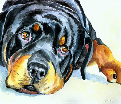 Watercolor Pet Portraits Painting - Rottweiler by Lyn Cook