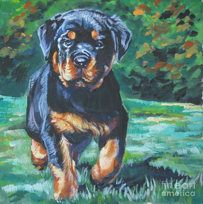 Rottweiler Wall Art - Painting - Rottweiler Pup by Lee Ann Shepard