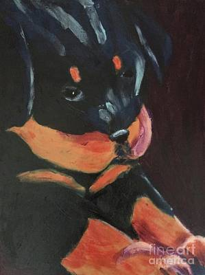 Painting - Rottweiler Puppy by Donald J Ryker III