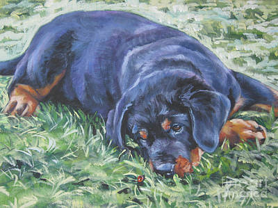 Rottweiler Wall Art - Painting - Rottweiler Puppy by Lee Ann Shepard
