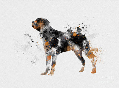 Cute Dog Mixed Media - Rottweiler by Rebecca Jenkins