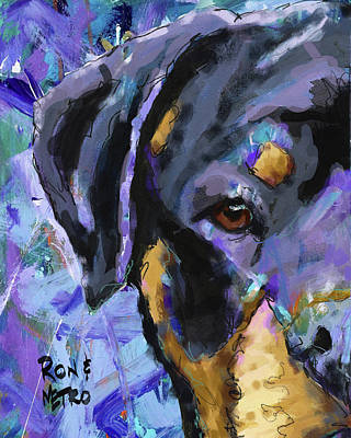 Rottweiler Wall Art - Painting - Rottweiler by Ron and Metro