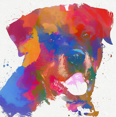 Love My Dog Painting - Rottweiler Watercolor by Dan Sproul