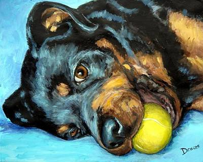 Tennis Ball Painting - Rottweiler With Ball by Dottie Dracos